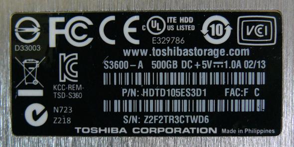 Toshiba STOR.E Slim 500GB - Leistungsaufnahme