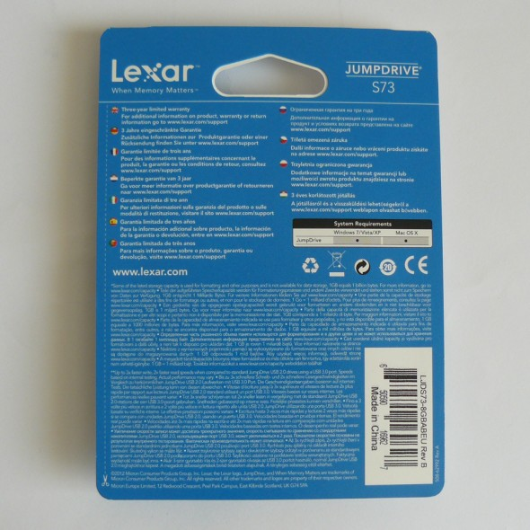 Lexar Jumpdrive S73 8GB - Verpackung Rückseite