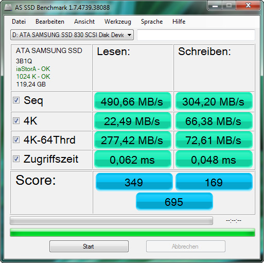Samsung 830 SSD - AS SSD Benchmark - Z68