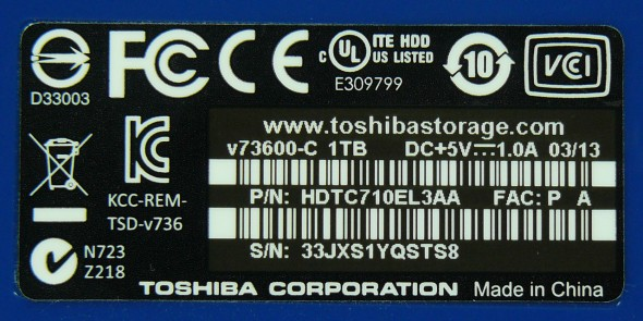 Toshiba STOR.E Canvio 1TByte USB3.0 - Aufkleber