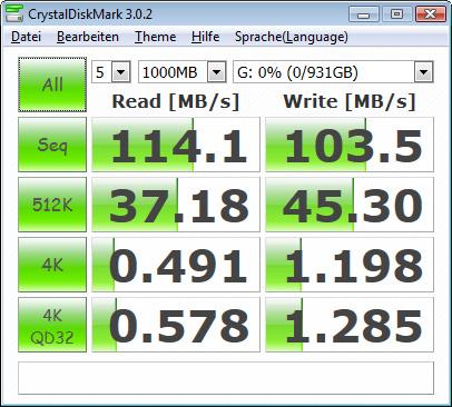 Toshiba STOR.E Canvio 1TByte USB3.0 - CrystalDiskMark USB3.0