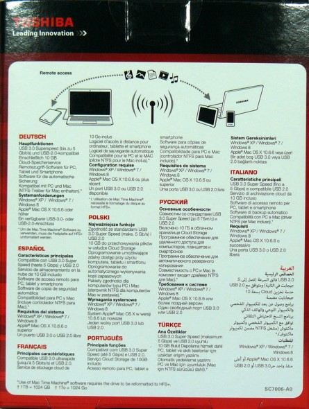 Toshiba STOR.E Canvio 1TByte USB3.0 - Verpackung Rückseite