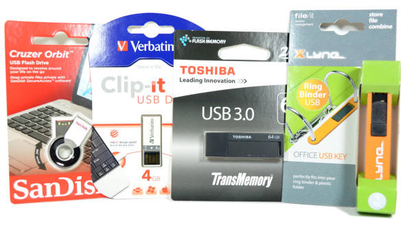 3DTester.de - Büro-USB-Sticks - SanDisk Cruzer Orbit, Verbatim Clip-it, Toshiba TransMemory Black, Xlyne Fileit orange