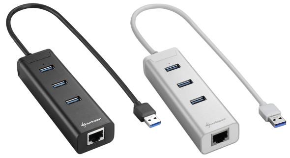 3DTester.de - Sharkoon 3-Port USB 3.0 Aluminium Hub + GbLAN schwarz silber